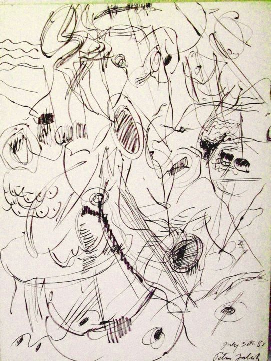 """Drawing titled """"While they were sti…"""" by Peter Jalesh, Original Art, Ink"""