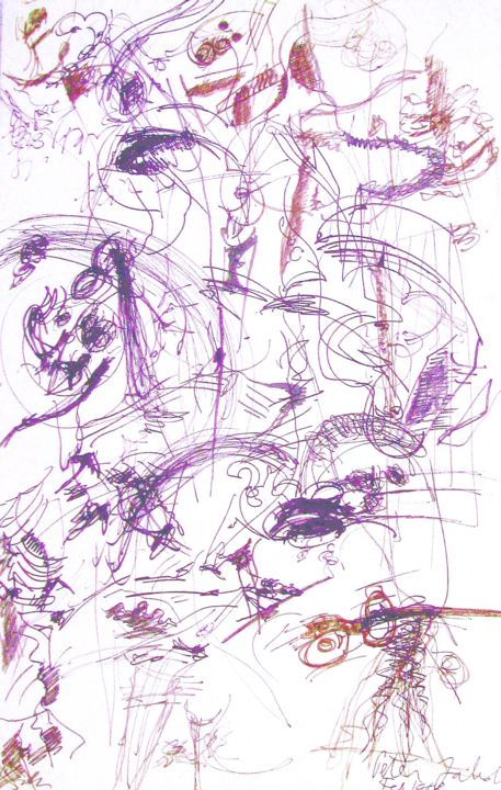 """Drawing titled """"Clowning around"""" by Peter Jalesh, Original Art, Ink"""