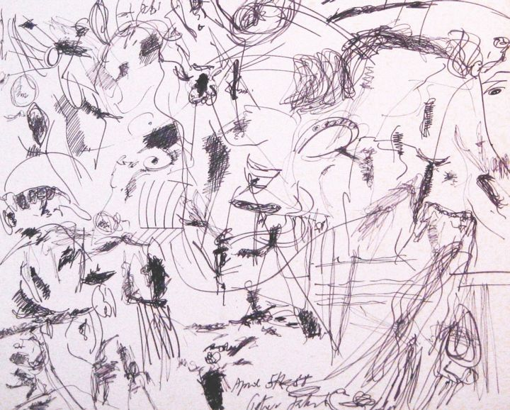 """Drawing titled """"The great Lawn Sund…"""" by Peter Jalesh, Original Art, Ink"""