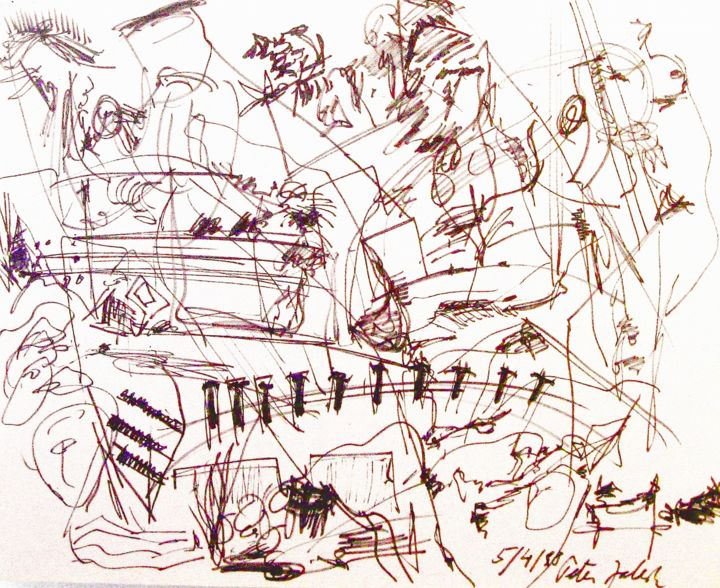 """Drawing titled """"Piano player"""" by Peter Jalesh, Original Art, Ink"""
