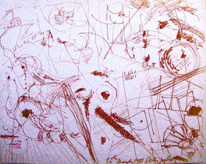 """Drawing titled """"At Luiza's farm"""" by Peter Jalesh, Original Art, Ink"""