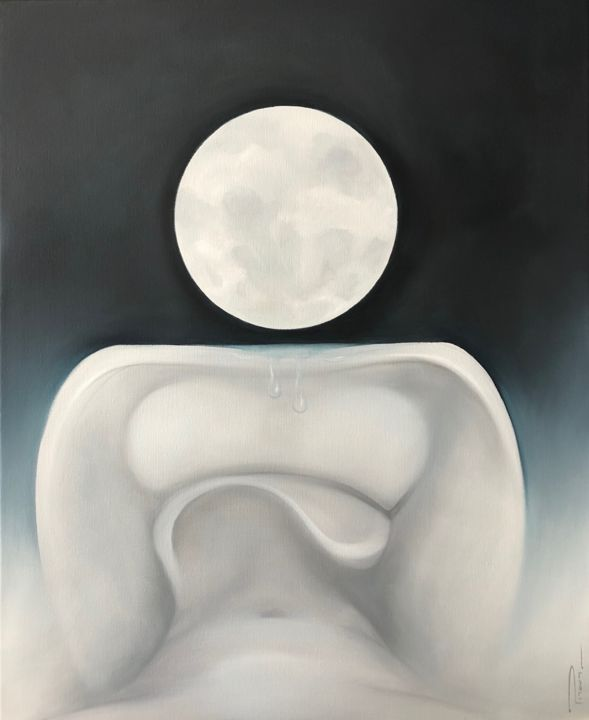 LUNA - Painting,  61x50 cm ©2019 by Peter Pitout -                                                                            Abstract Art, Figurative Art, Abstract Art, Body, Mortality