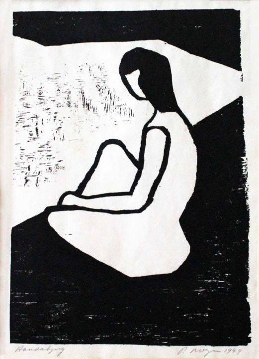"""Printmaking titled """"Woman sitting at th…"""" by Peter Royen, Original Art, Xylography"""
