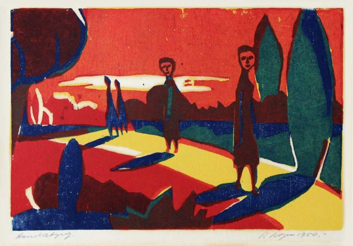 """Printmaking titled """"Four Figures in a T…"""" by Peter Royen, Original Art, Xylography"""