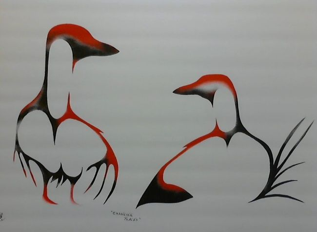 Painting,  24 x 30 in ©2012 by Peter Hawke Hill -  Painting, two ducks changing places in the nest