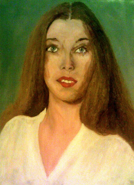 """Painting titled """"She Stares Ahead"""" by Peterpaints ., Original Art, Oil"""
