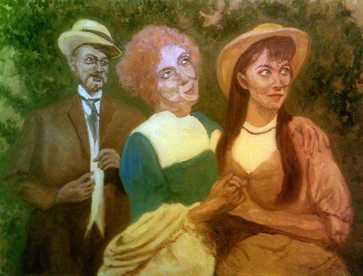 """Painting titled """"Victorian Mother An…"""" by Peterpaints ., Original Art, Oil"""