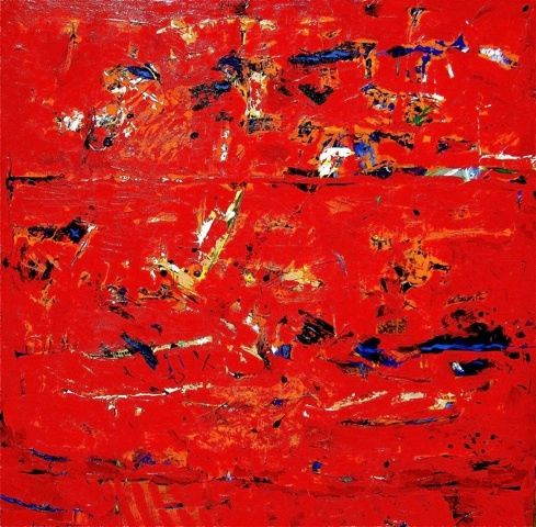 """Painting titled """"The red map of nowh…"""" by Peter Radacina, Original Art, Oil"""