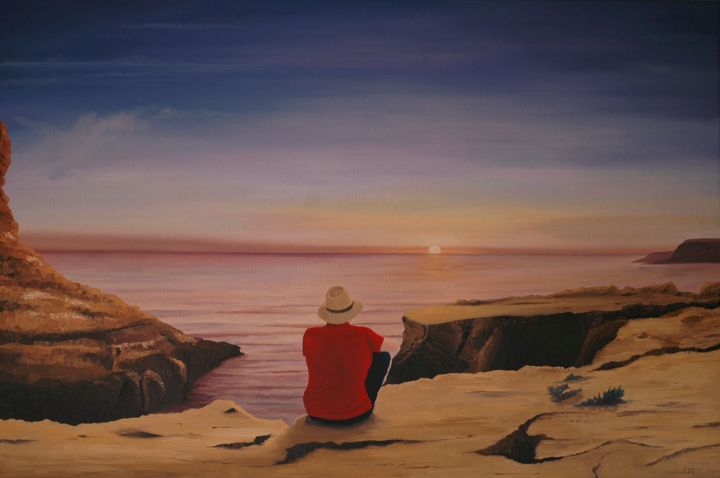 Sunset - Painting,  31.5x47.2x0.8 in ©2019 by Peter Seminck -                                                                                Realism, Landscape, People, Nature, Seascape, sunset, man, sea, rocks, sky