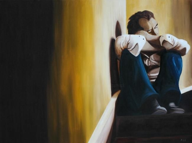 Thinking - Painting,  23.6x31.5 in, ©2010 by Peter Seminck -                                                                                                                                                                          Figurative, figurative-594, Thinking-pose on staircase