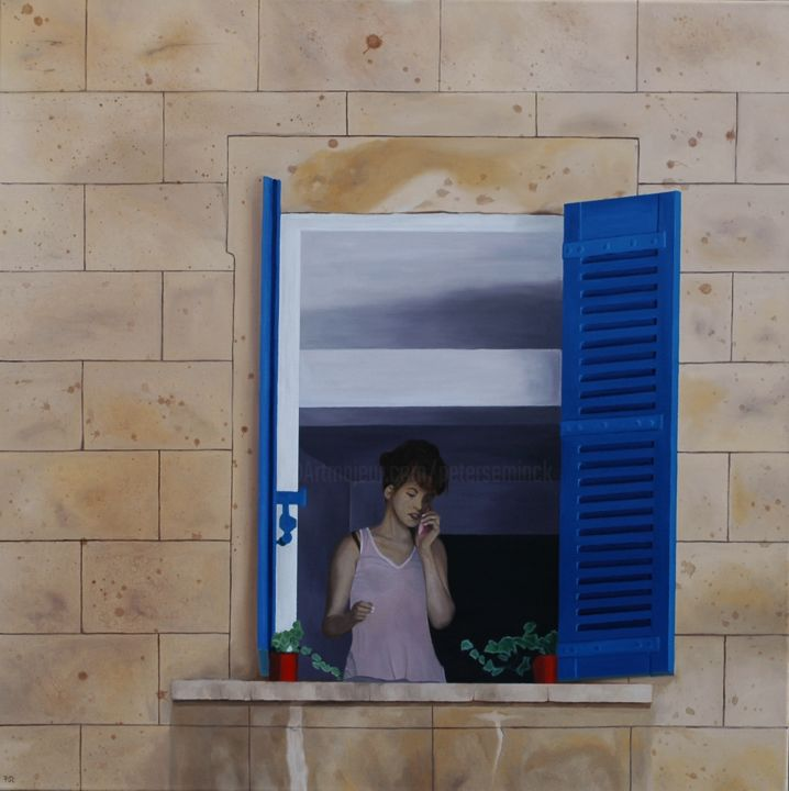 Hello ...? - Painting,  39.4x1.2x39.4 in ©2014 by Peter Seminck -                            Realism, vrouw, venster, telefoon, realisme