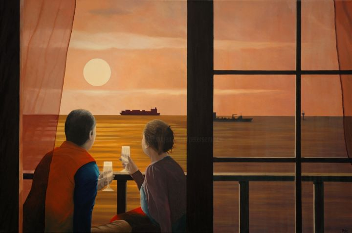 Champagne Sunset - Painting,  31.5x1.2x47.2 in ©2014 by Peter Seminck -                            Realism, Champagne, Sunset, Sea, Lovers, romance, realism