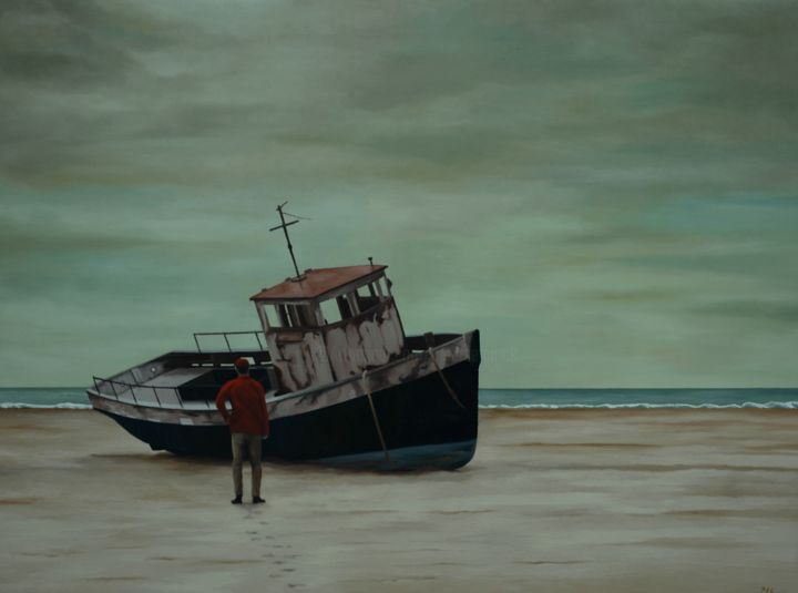 Stranded - ©  beach, sea, shipwreck, man, people, realism Online Artworks