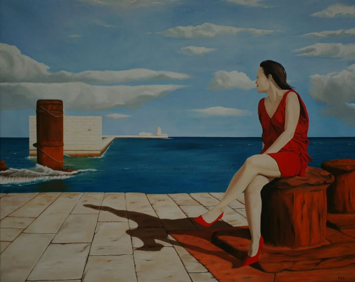Sitting on the dock of the bay - Painting,  31.5x39.4x0.8 in ©2016 by Peter Seminck -                                                        Realism, Women, Seascape, vrouw, schaduw, zee, wind
