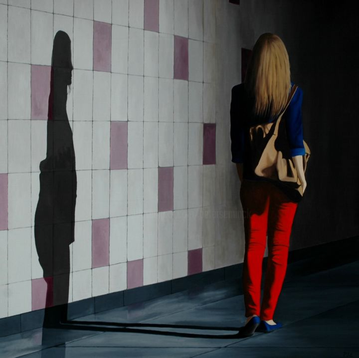 Walking into the tunnel - ©  vrouw, tunnel, schaduw, spotlight Online Artworks