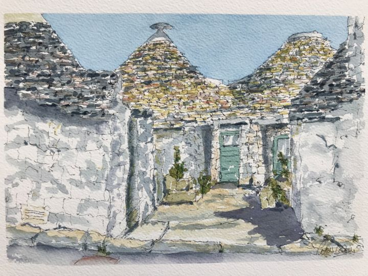 Trulli houses - Painting,  7.1x10.2 in, ©2018 by Peter Blake -                                                                                                                                                                                                                                                                                                                                                                                                          Impressionism, impressionism-603, Architecture, Trulli, Puglia, Italy, historic house, maisons trulli