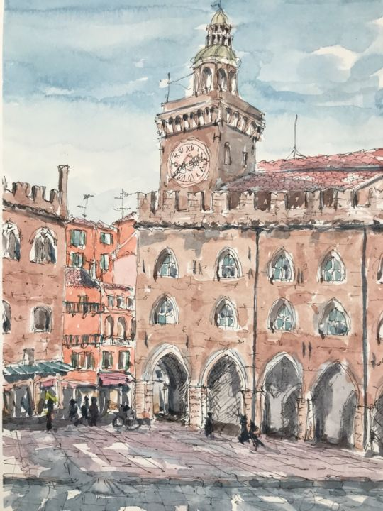 Piazza Maggiore, Bologna - Painting,  10.2x7.1 in, ©2018 by Peter Blake -                                                                                                                                                                                                                                                                                                                  Impressionism, impressionism-603, Architecture, Bologna, Italian street scene, Italian architecture