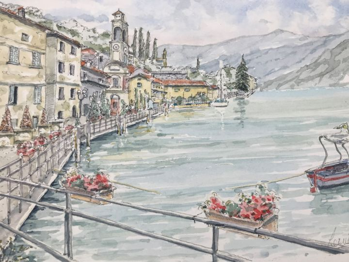 Riva Di Solto - Painting,  7.1x10.2 in, ©2018 by Peter Blake -                                                                                                                                                                                                                                                                                                                                                                                                                                                                                                  Impressionism, impressionism-603, Architecture, Landscape, Water, Italy, Lake Iseo, Italian lakes, Italian landscape, lac I'seo