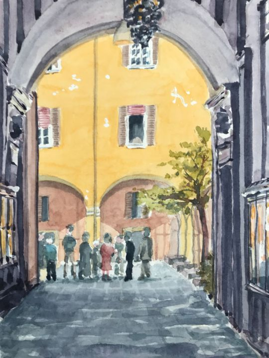 Chatting on the piazza - Painting,  10.2x7.1 in, ©2018 by Peter Blake -                                                                                                                                                                                                                                                                                                                                                                                                          Impressionism, impressionism-603, Architecture, Cityscape, Bologna, porticoes, Italy, Italian street scene