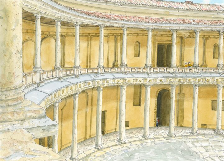 Palace of Charles V, Alhambra, Granada - Painting,  10.2x14.2x0.4 in, ©2017 by Peter Blake -                                                                                                                                                                                                                                                                                                                                                              Figurative, figurative-594, Architecture, History, Alhambra, Granada, Spanish Palace