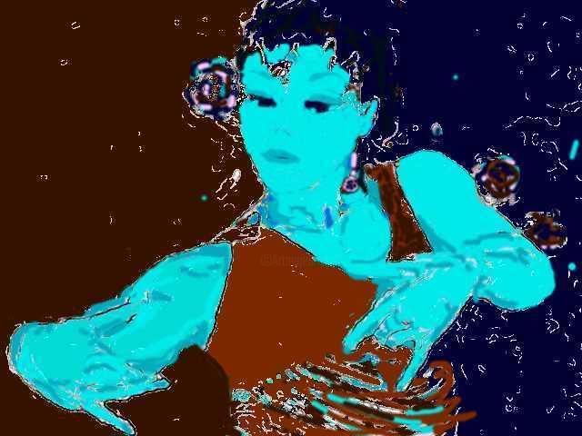 FLAMENCO BLUES - Drawing, ©2005 by France Quenneville -                                                                                                              Colors, Flamenco femme posture danse expression gitanes gypsy bras mains
