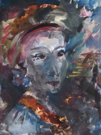 FILLE AU RUBAN - Painting, ©1986 by France Quenneville -