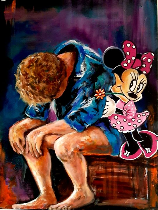 Minni Mouse and the young fellow/ Minni Mouse et le jeune ga - Painting,  31.5x23.6 in, ©2019 by Petra Moons -                                                                                                          Cartoon, People