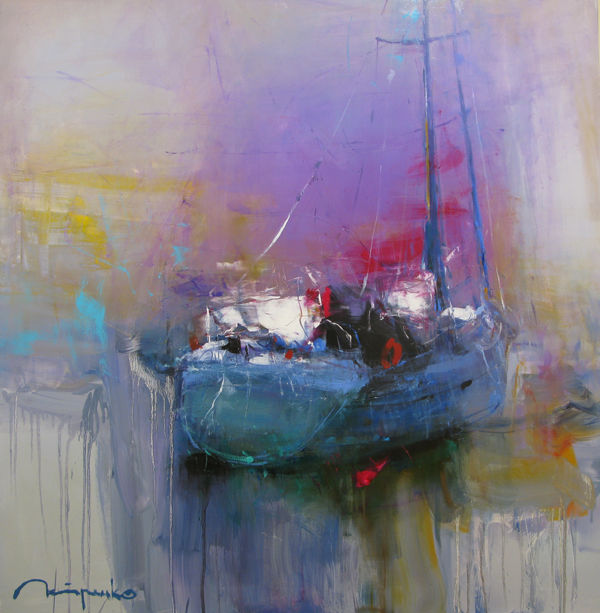 Yacht - Painting,  110x110x2 cm ©2017 by Yuriy Petrenko -                                                        Expressionism, Canvas, Ships