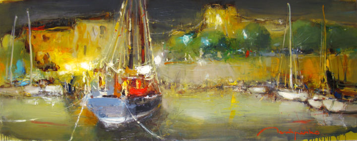 Night landscape - Painting,  50x130x2 cm ©2017 by Yuriy Petrenko -                                                                                            Expressionism, Canvas, Boat, Seascape, Landscape, Yacht