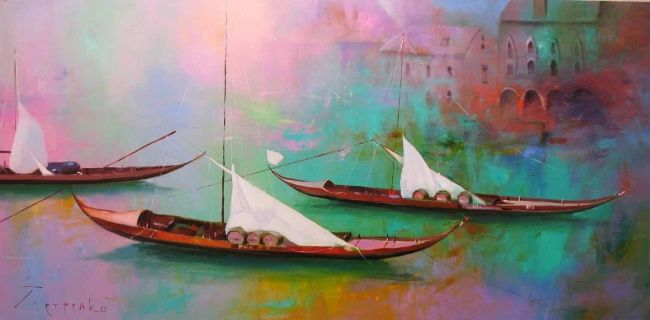 Boats - Painting,  100x55 cm ©2007 by Yuriy Petrenko -                        Contemporary painting