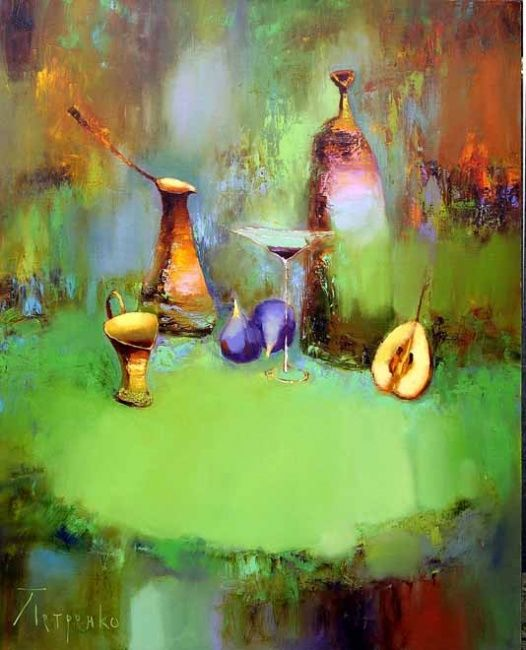 Still Life with Fig - Painting,  33.5x29.5 in, ©2007 by Yuriy Petrenko -