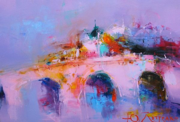 Bridge - Painting,  70x50 cm ©2010 by Yuriy Petrenko -                            Abstract Expressionism, Painting  landscape  sea  city  bridge violet morning expressionism живопись пейзаж море город мост фиолетовый утро экспрессионизм