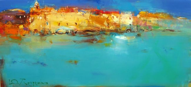 Sea, old city - Painting,  100x45 cm ©2011 by Yuriy Petrenko -                            Abstract Expressionism, Sea, old city