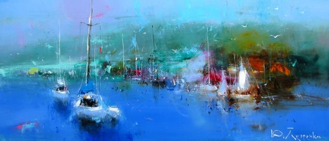 Sea landscape - Painting,  140x60 cm ©2011 by Yuriy Petrenko -                            Abstract Expressionism, ship, seascape, море, яхты