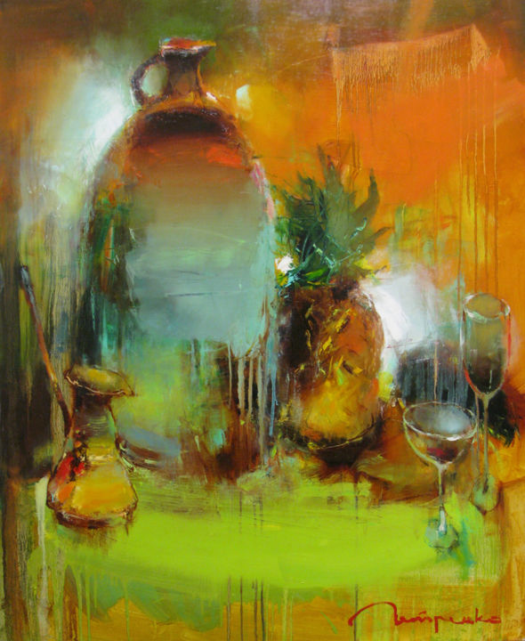 Still life with pineapple - Painting,  105x2x85 cm ©2015 by Yuriy Petrenko -                                                            Expressionism, Canvas, Still life, still life, drinks, coffee