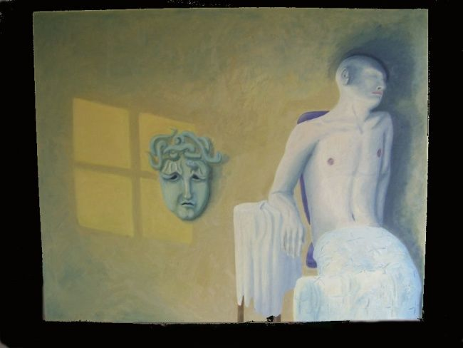 """Painting titled """"Man and mask"""" by Reinholt, Original Art,"""