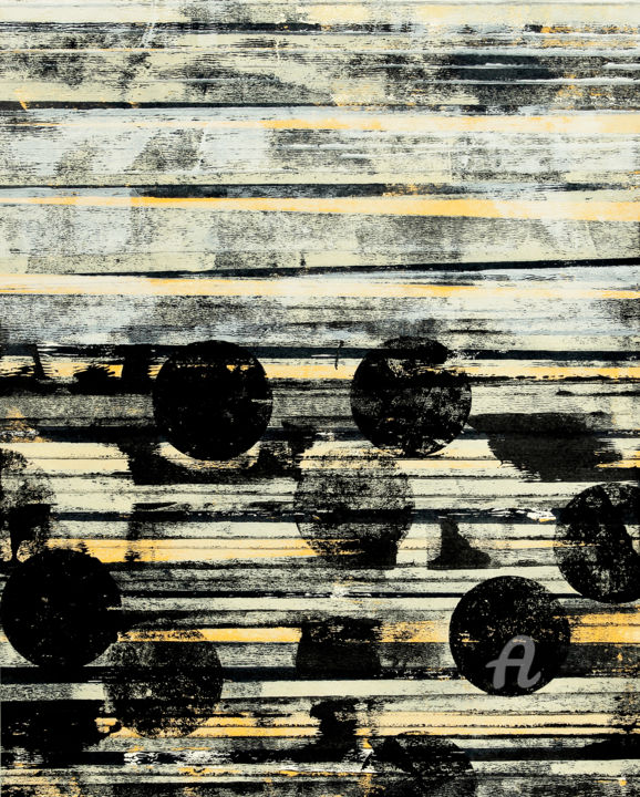 Nowhere Far I. - Painting,  19.7x15.8 in, ©2019 by Petr Strnad -                                                                                                                                                                                                                                                                                                                                                                                                                                                                                                                                                                                                                                                                                                                                                                                                                                                                                                                                                                                                                                                                                                                                                                                                                                  Abstract, abstract-570, Abstract Art, Landscape, Outer Space, Places, abstract, abstraction, grunge, grungy, texture, lines, circles, vertical, modern, unique, space, landscape, outer, wall art, art, artistic, design, yellow, black, impressive