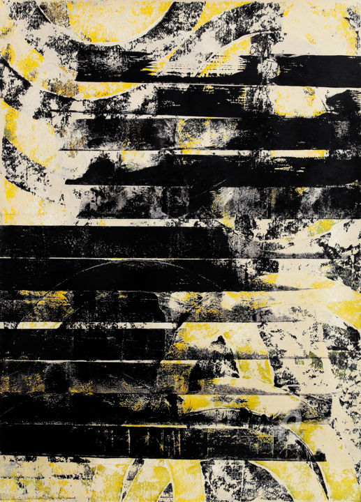 Through II. - Painting,  79x50x0.1 cm ©2019 by Petr Strnad -                                                                    Abstract Art, Abstract Expressionism, Conceptual Art, Abstract Art, abstract, acrylic, painting, stripes, vertical, grunge, shapes, grungy, texture, yellow, modern, unique, expressionism, decorative, decoration, wall art, curves, fantasy, idea, creative