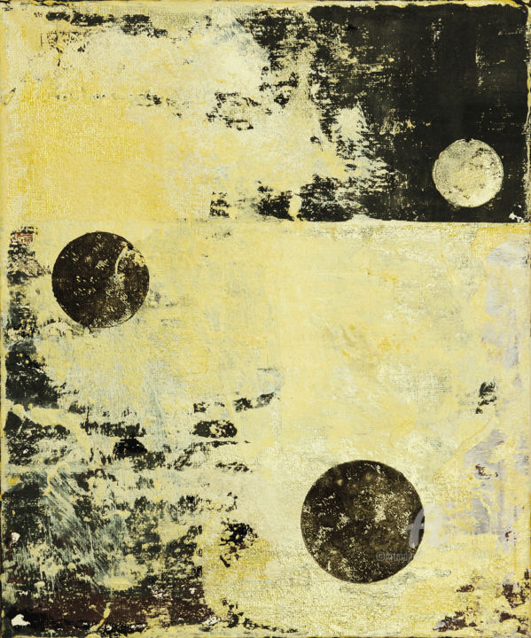 Episode 1 - Painting,  30.5x25.3x0.3 cm ©2019 by Petr Strnad -                                                                                Abstract Art, Abstract Expressionism, Minimalism, Abstract Art, Outer Space, abstract, abstraction, grunge, grungy, circles, modern, unique, acrylic, canvas board, decorative, decoration, wall art, environmental, space, palce, landscape, fantasy, geometric, vertical
