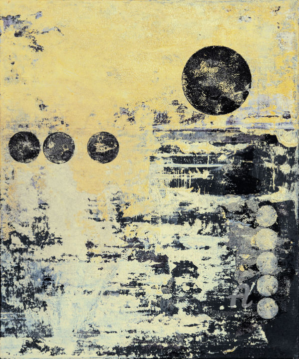 Episode 2 - Painting,  30.5x25.3x0.3 cm ©2019 by Petr Strnad -                                                                                                        Abstract Art, Abstract Expressionism, Conceptual Art, Minimalism, Abstract Art, Geometric, Outer Space, abstract, abstraction, geometric, circles, grunge, grungy, modern, unique, canvas board, vertical, space, landscape, place, acrylic, painting, expressionism, environmental
