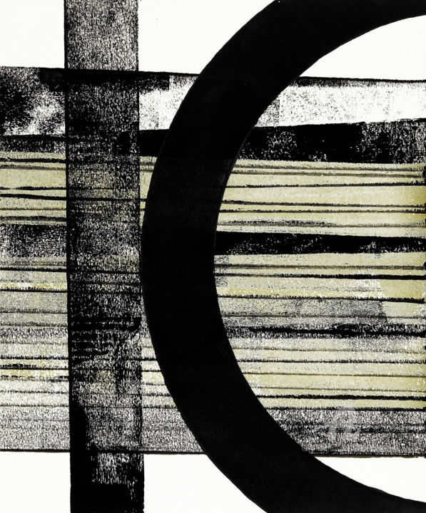 Integration XVI. - Painting,  12.1x10 in, ©2019 by Petr Strnad -                                                                                                                                                                                                                                                                                                                                                                                                                                                                                                                                                                                                                                                                                                                                                                                                                                                                                                                                                                                                                                                                                                                                                                                                                                                                              Abstract, abstract-570, Abstract Art, Geometric, Landscape, Outer Space, Places, abstract, abstraction, grunge, grungy, texture, geometric, curve, stripes, overlapping, design, place, space, vertical, grey, decorative, decoration, creative, wall art, art on paper, acrylic