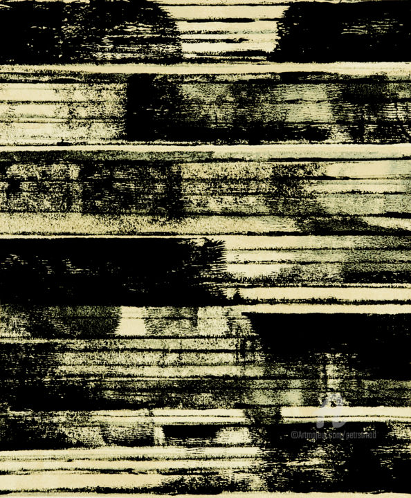 Nowhere Far XIII. - Painting,  30.6x25.5x0.1 cm ©2019 by Petr Strnad -                                                                                                        Abstract Art, Abstract Expressionism, Abstract Art, Geometric, Landscape, Outer Space, Places, abstract, abstraction, grunge, grungy, vertical, texture, stripes, monochrome, black and white, modern, unique, geometric, decorative, decoration, wall art, art on paper, acrylic, painting, design, place, space