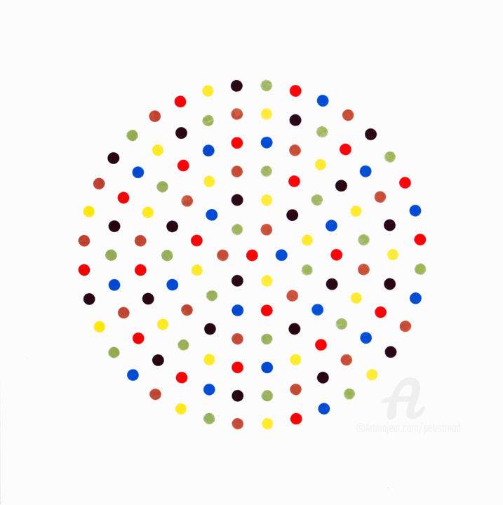 Silent Moment 4 - Collages,  41x41x0.1 cm ©2019 by Petr Strnad -                                                                    Abstract Art, Abstract Art, Colors, Geometric, abstract, abstraction, paper, collge, dots, circle, circular, color, colour, colorful, pattern, patterns, wall art, design, idea, information, squared, modern, unique, regular