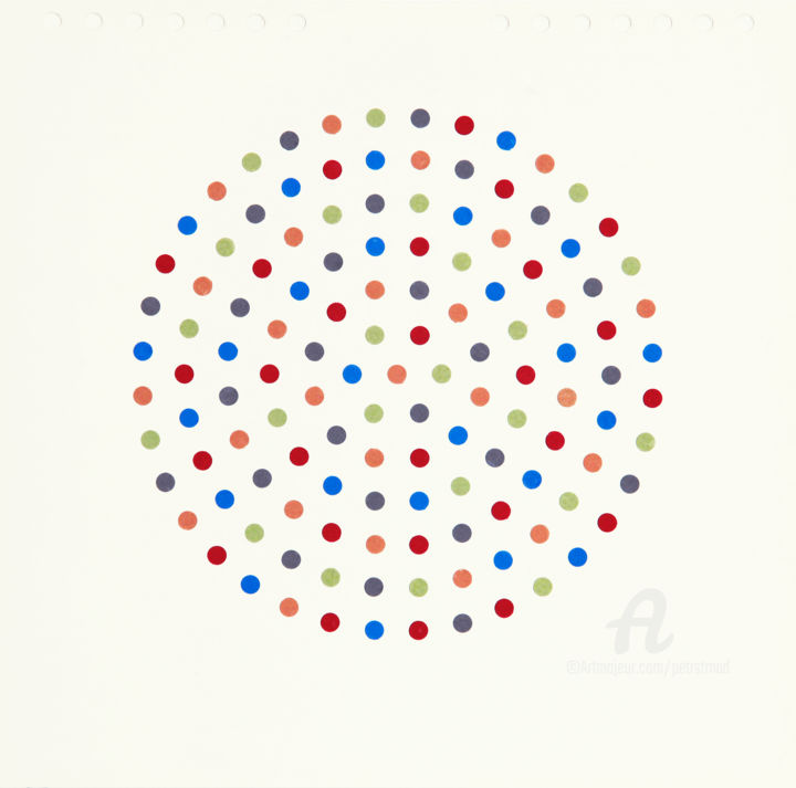 Silent Moment 2. - Collages,  24.6x25x0.1 cm ©2019 by Petr Strnad -                                                        Abstract Art, Abstract Art, Geometric, anstract, abstraction, geometric, shapes, dots, circular, unique, wall art, mixed media, collage, pattern, regular, design, illustration, original, decoration