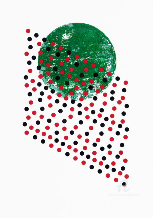 Traces Of Ritual II. - Collages,  29.7x21x0.1 cm ©2019 by Petr Strnad -                                                        Abstract Art, Abstract Art, Geometric, abstract, abstraction, green, circle, dots, grunge, grungy, halftone, collage, vertical, decoration, unique, geometric, pattern, shapes, non-figurative, illustration, mixed media, wall art, color