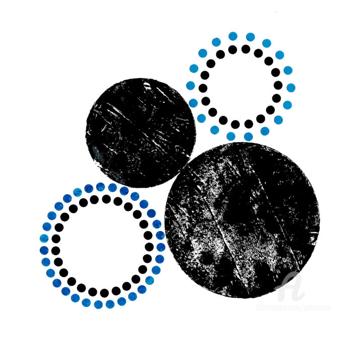 Traces Of Ritual IV. - Collages,  25x25x0.1 cm ©2019 by Petr Strnad -                                                        Abstract Art, Abstract Art, Geometric, abstract, abstraction, collage, mixed media, painting, acrylic, dots, geometric, halftone, circles, grunge, grungy, texture, black, wall art, color, decoration, creative