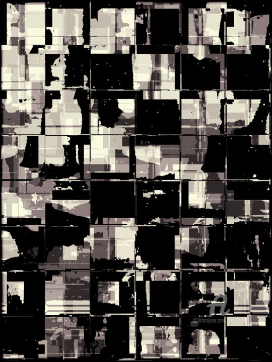 Format #8 - Digital Arts,  20x15 in, ©2019 by Petr Strnad -                                                                                                                                                                                                                                                                                                                                                                                                                                                                                                                                                                                                                                                                                                                                                                                                                                                                                                              Abstract, abstract-570, Abstract Art, Geometric, overlapping, grunge, monochrome, texture, geometric, lines, tones, transparent, wall art, abstract, digital, manipulated, photographic, edition, graphic design