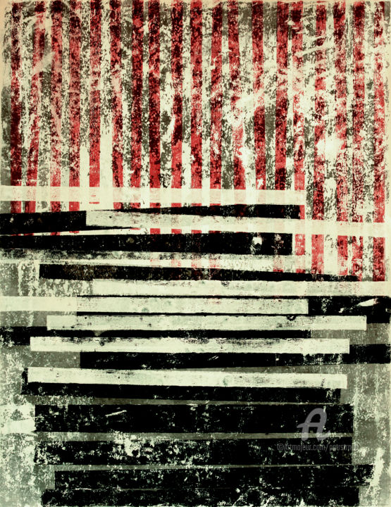 Position VIII. - Painting,  25.6x19.7 in, ©2019 by Petr Strnad -                                                                                                                                                                                                                                                                                                                                                                                                                                                                                                                                                                                                                                                                                                                                                                                                                                                                                                              Abstract, abstract-570, Geometric, Outer Space, Places, abstract, grunge, texture, geometric, shapes, strpes, vertical, red, wall art, non-figurative, no people, place, space, acrylic