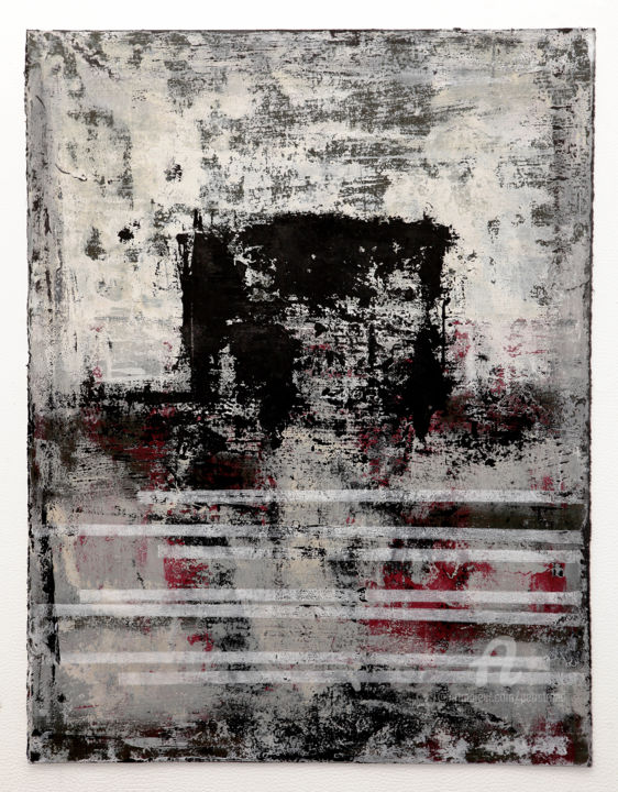 Follow The Story I. - Painting,  19.7x15.2 in, ©2019 by Petr Strnad -                                                                                                                                                                                                                                                                                                                                                                                                                                                                                                                                                                                                                                                                                                                                                                                                                                                                                                                                                                                                      Abstract, abstract-570, Abstract Art, Landscape, Outer Space, Places, abstract, grunge, texture, acrylic, painting, vertical, grey, space, place, landscape, wall art, decorative, expressionism, object, horizon