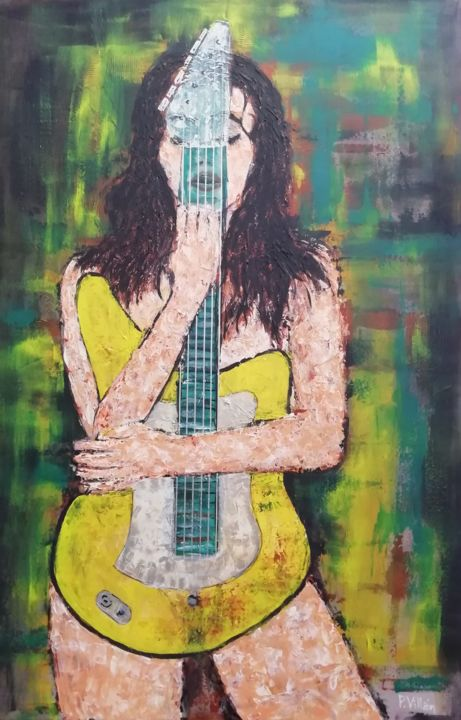 My guitar - Painting,  35.4x23.6x0.7 in ©2019 by Pepe Villan -                                                                                                                    Abstract Art, Figurative Art, Contemporary painting, Performing Arts, Nude, Erotic, Women, Music, guitar women, surrealist portrait, rock painting, rock musician, rock art